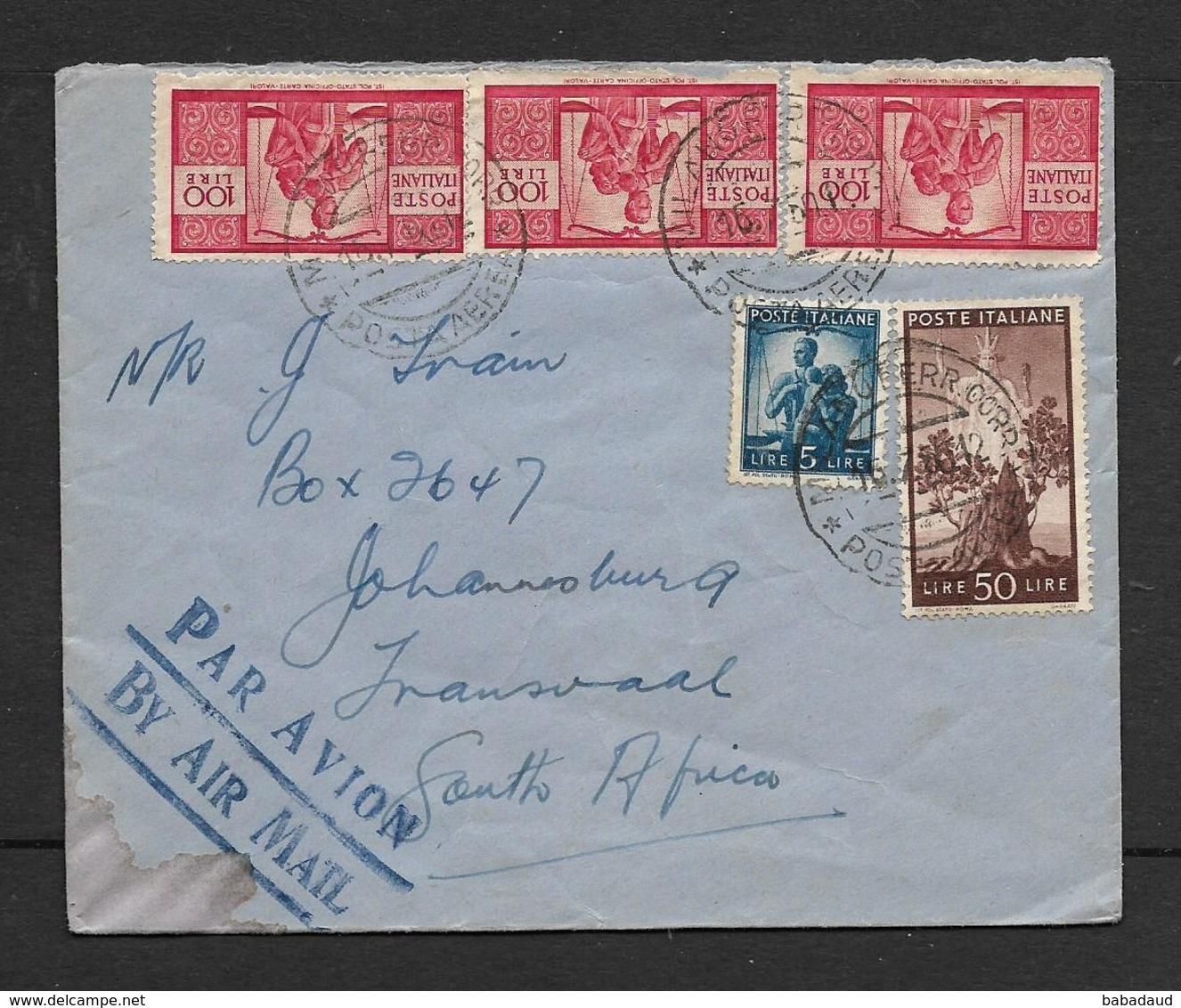 Italy, Cover Lire 355, MILANO FERR CORR 16.7. 50 > S.Africa - 6. 1946-.. Republic