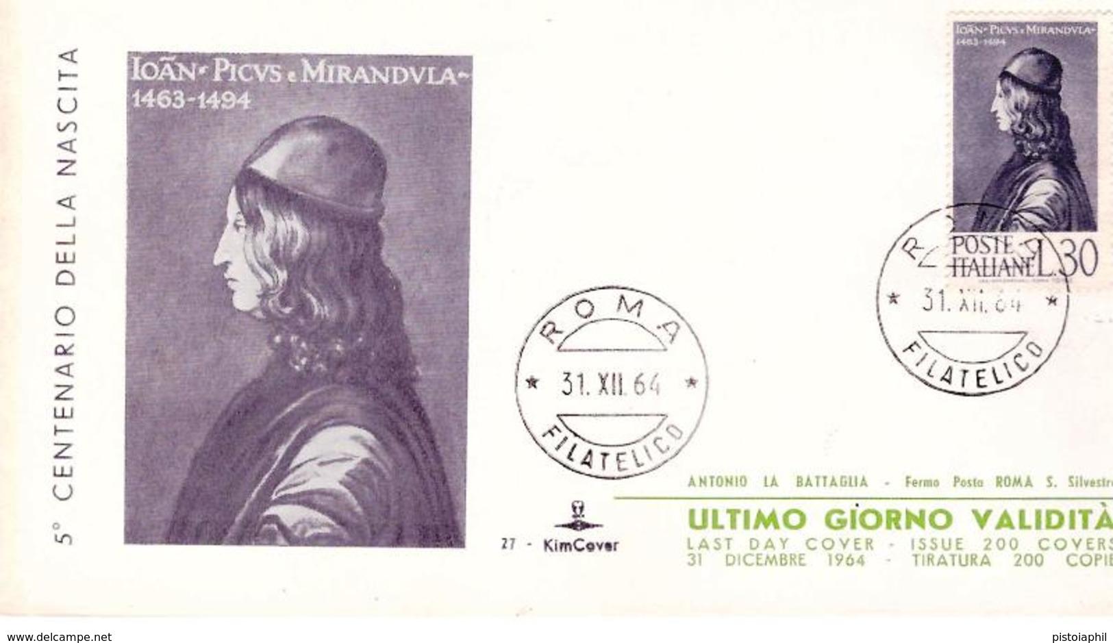 Last Day Cover (ultimo Giorno Di Validità): PICO DELLA MIRANDOLA 1964 - 6. 1946-.. Repubblica