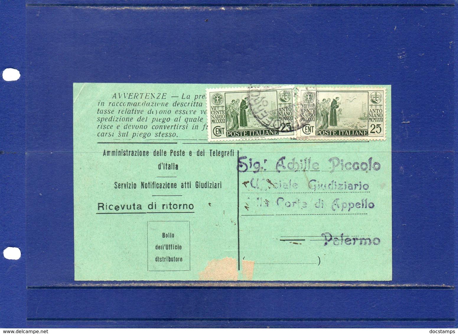 ##(DAN1811)-1930-Ricevuta Di Ritorno Raccomandata Atti Giudiziari Da Caltanissetta Per Palermo Con Valori Antoniano - Storia Postale