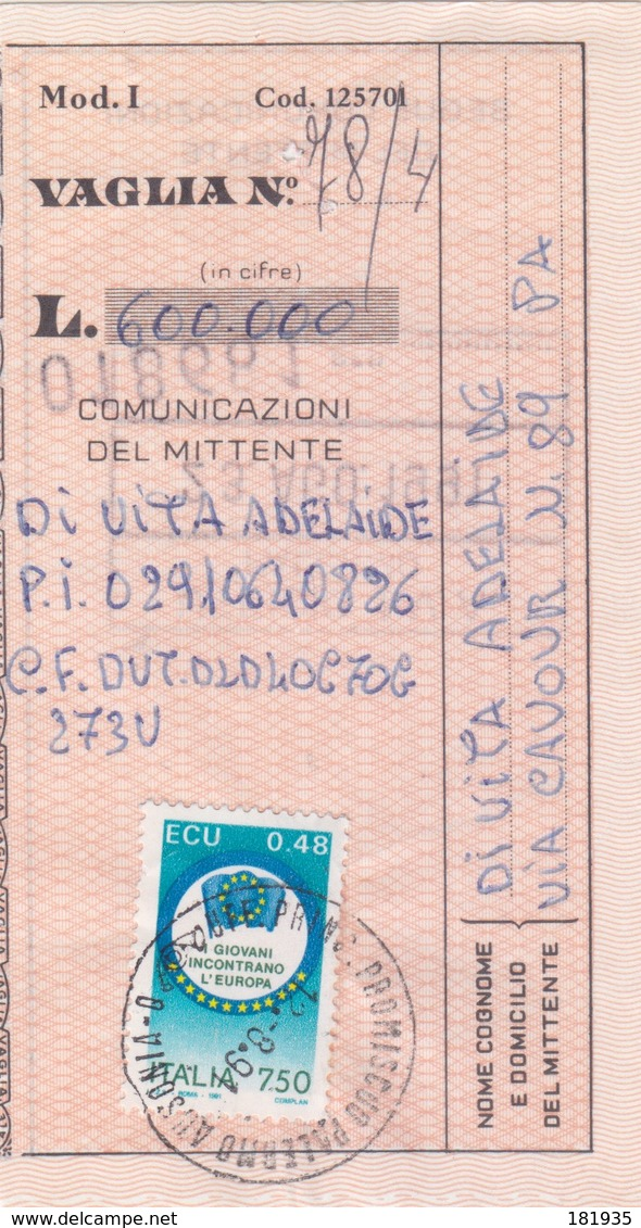 Ricevuta Vaglia -Viaggiata Italy Italia - 6. 1946-.. Repubblica