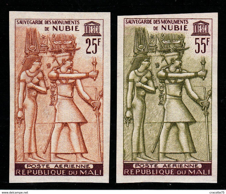 MALI - N°PA 22/23**. EGYPTE - SAUVEGARDE DES MONUMENTS DE NUBIE. SERIE NON DENTELEE. - Archéologie