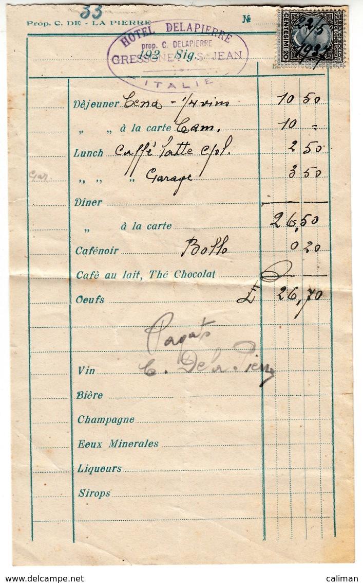 ALBERGO HOTEL DELAPIERRE GRESSONEY - RICEVUTA ORIGINALE 1937 - Italie