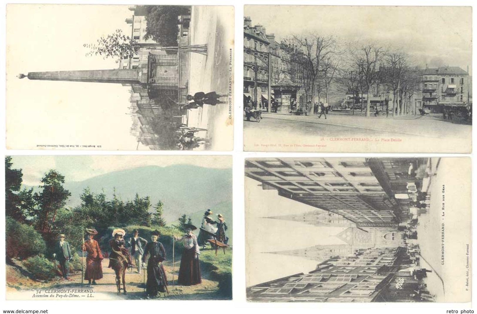 4 CPA  Clermont Ferrand - Place Delille, Pyramide, Puy De Dôme, Rue...   ( S 3107 ) - Clermont Ferrand