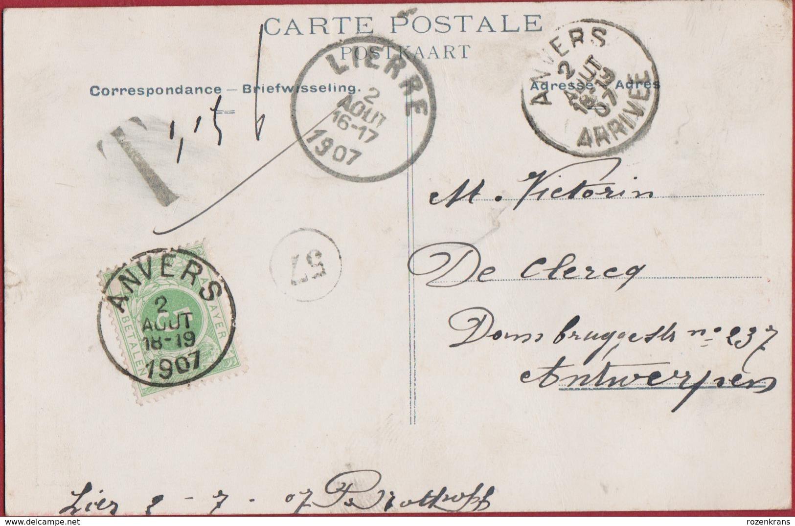 Lier Lierre Un Baiser De Grote Markt Spui 1907 (In Zeer Goede Staat) Tax Taxzegel Cachet Obliteration Stempel - Lier