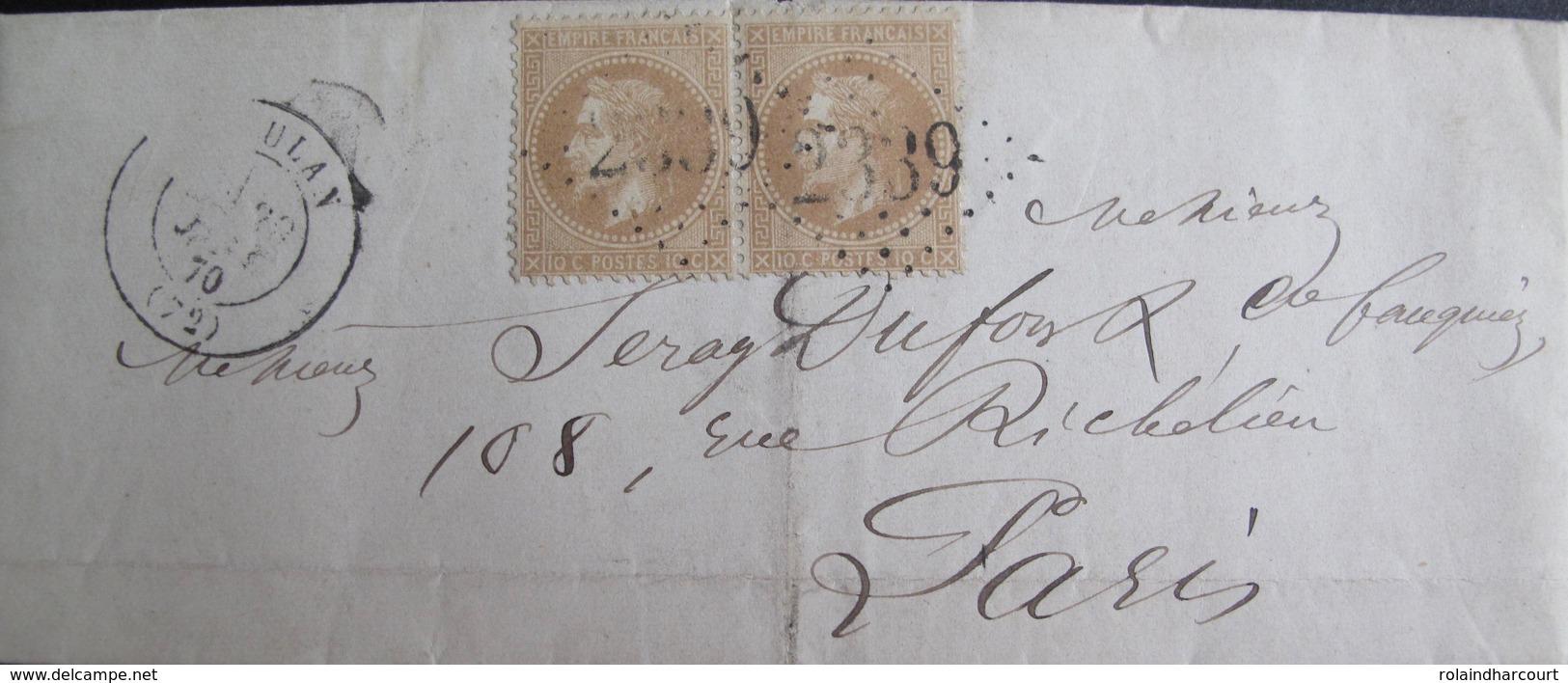 R1712/61 - ✉️ (LAC) - NAPOLEON III Lauré (PAIRE) N°28A - GC 2339 : MEULAN (Seine Et Oise) INDICE 3 - 1863-1870 Napoleon III With Laurels