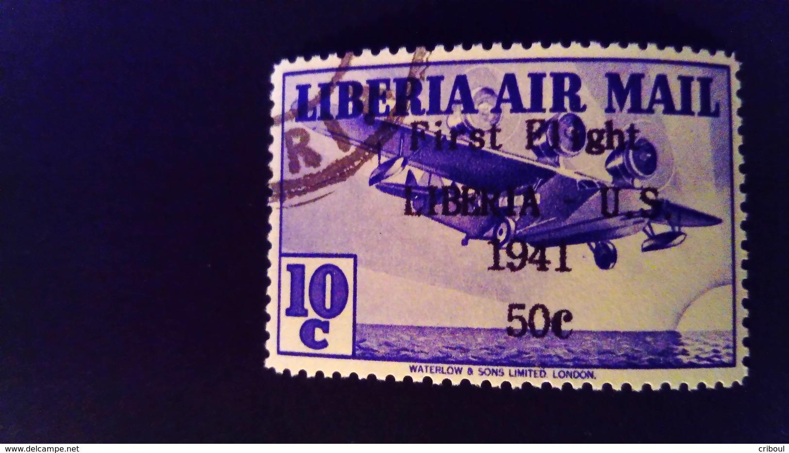 Liberia 1941 Avion Airplane Surchargé Overprint First Flight Liberia - U.S.Yvert PA27 O Used - Liberia
