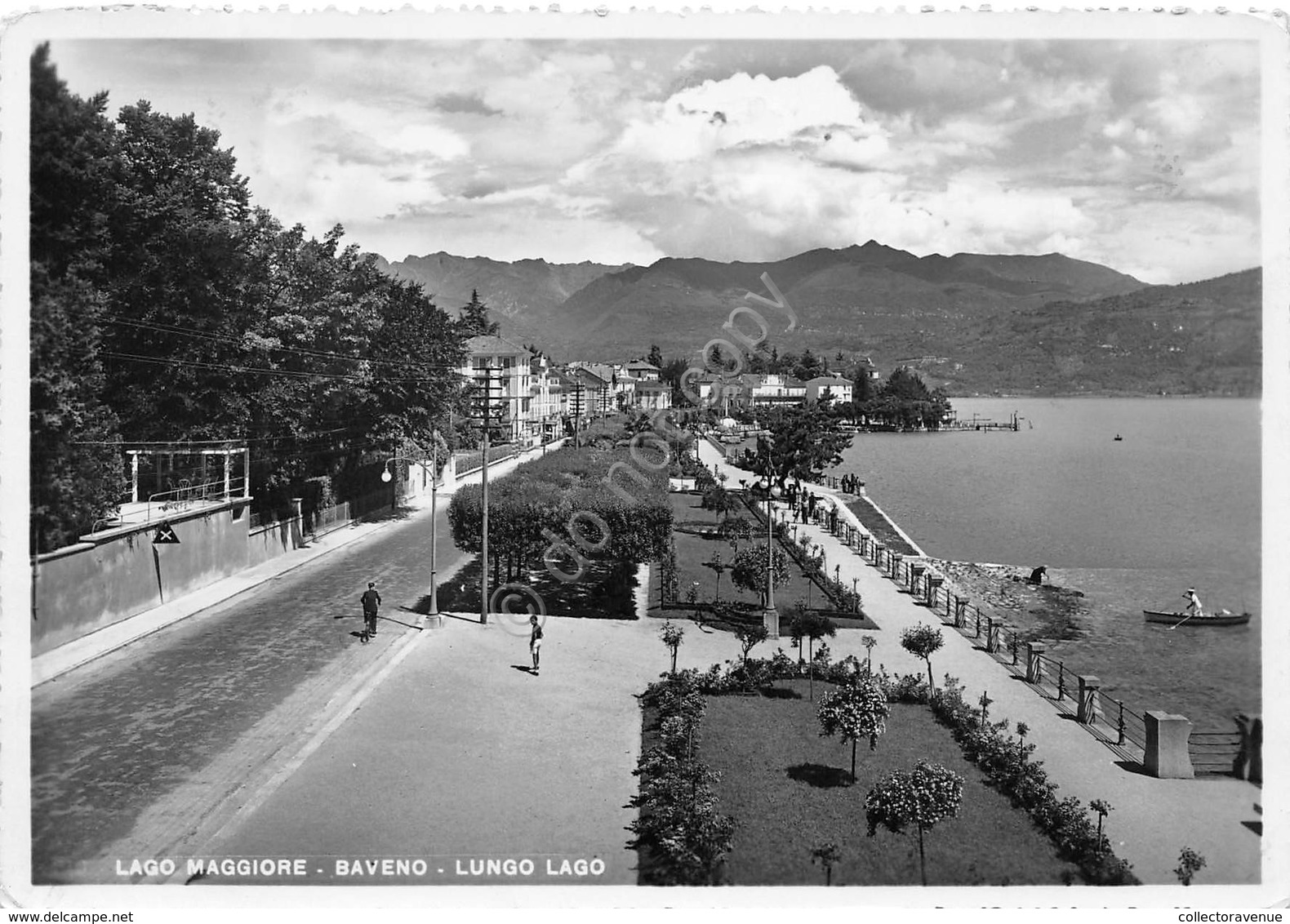 Cartolina Baveno Lungo Lago Animata Anni '50 Segnata - Verbania