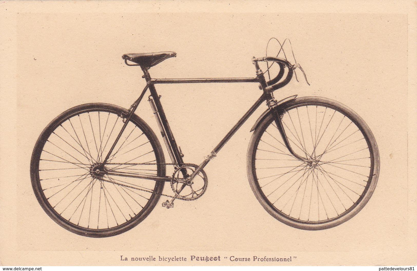 """CPA Publicitaire Pblicité Nouvelle Bicyclette PEUGEOT """"Course Professionnel"""" Vélo Cyclisme Cycling Radsport  (2 Scans) - Publicidad"""