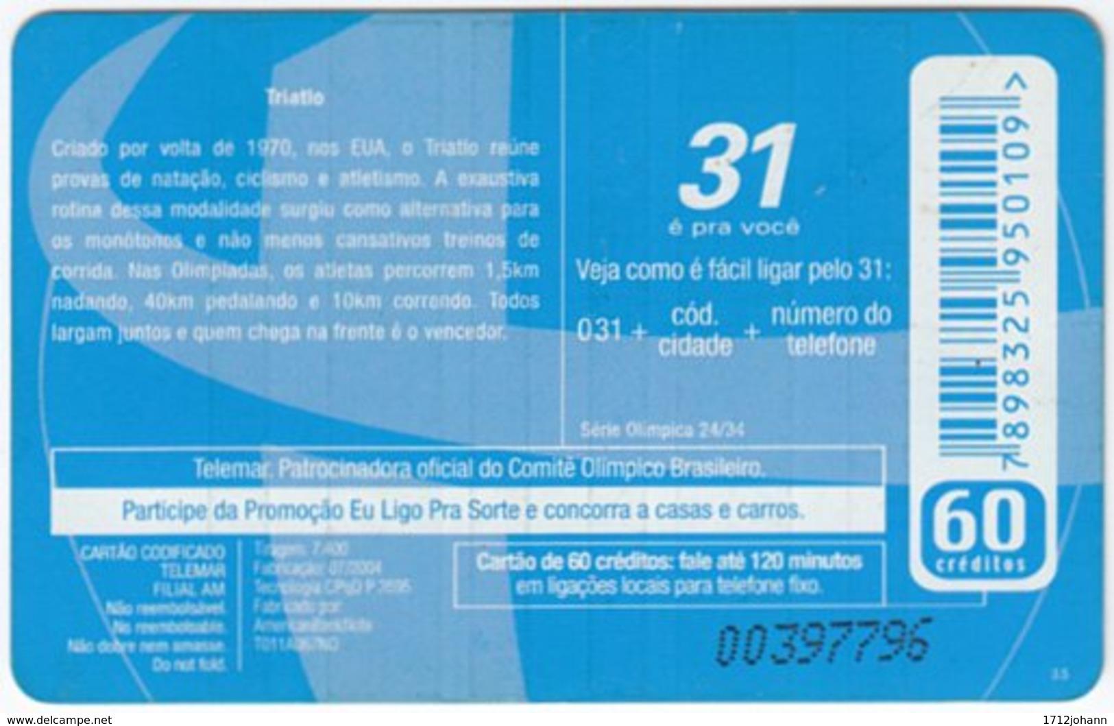 BRASIL G-469 Magnetic Telemar - Event, Olympic Games, Triathlon - Used - Brasilien