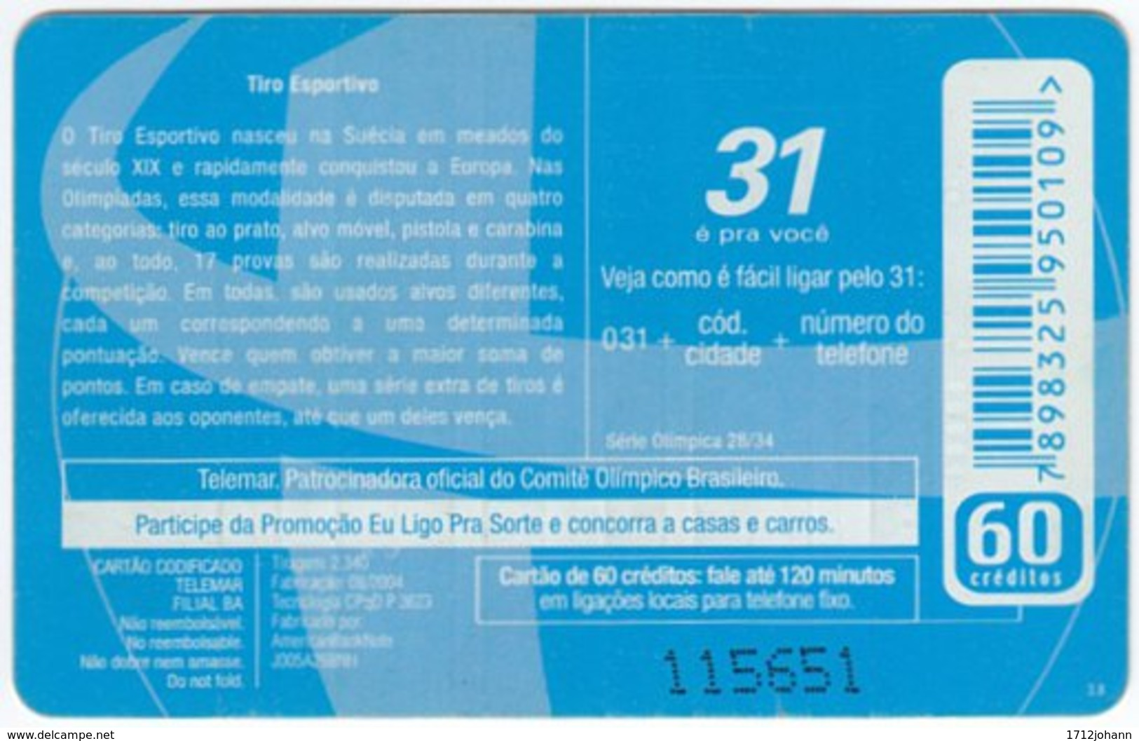 BRASIL G-480 Magnetic Telemar - Event, Olympic Games, Shooting - Used - Brasilien