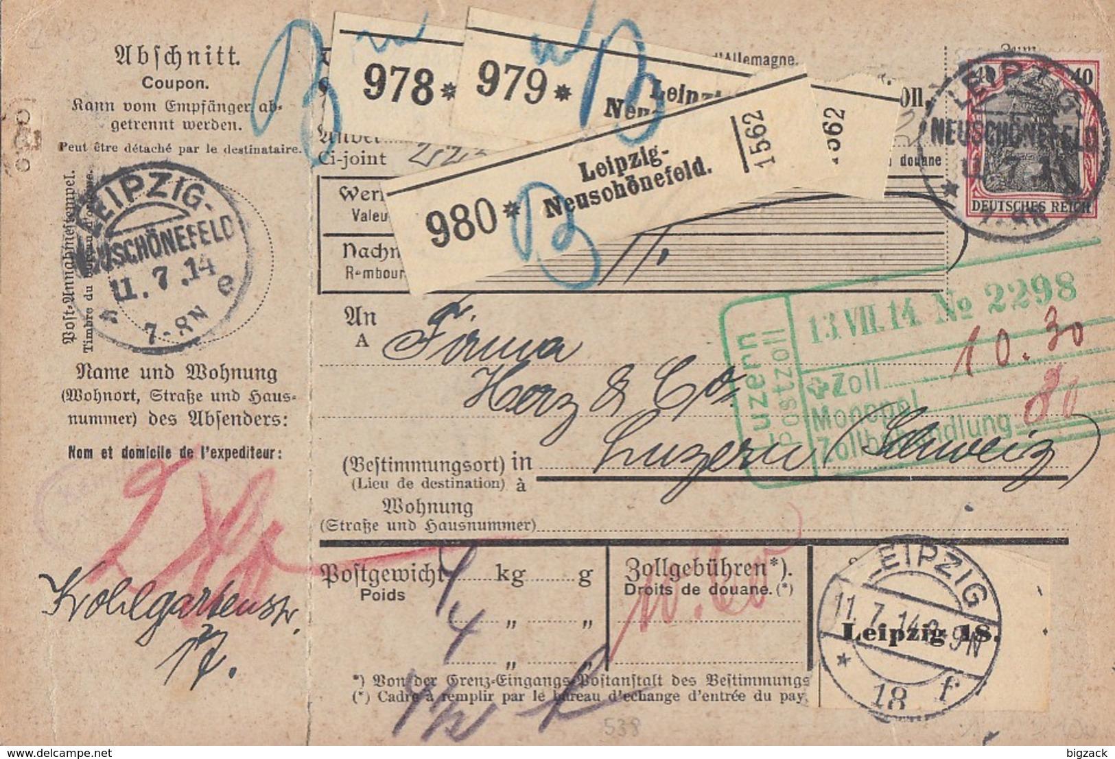 DR Paketkarte Für 3 Pakete Mif Minr.90I, 2x 94AI KOS Leipzig-Neuschönfeld 11.7.14 Gel. In Schweiz - Deutschland