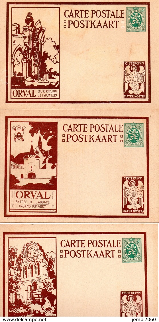 ORVAL : Lot De 10 Cartes Postales Affranchies Avec Lion Héraldique De 35c. (voir Scans) - Cartes Illustrées