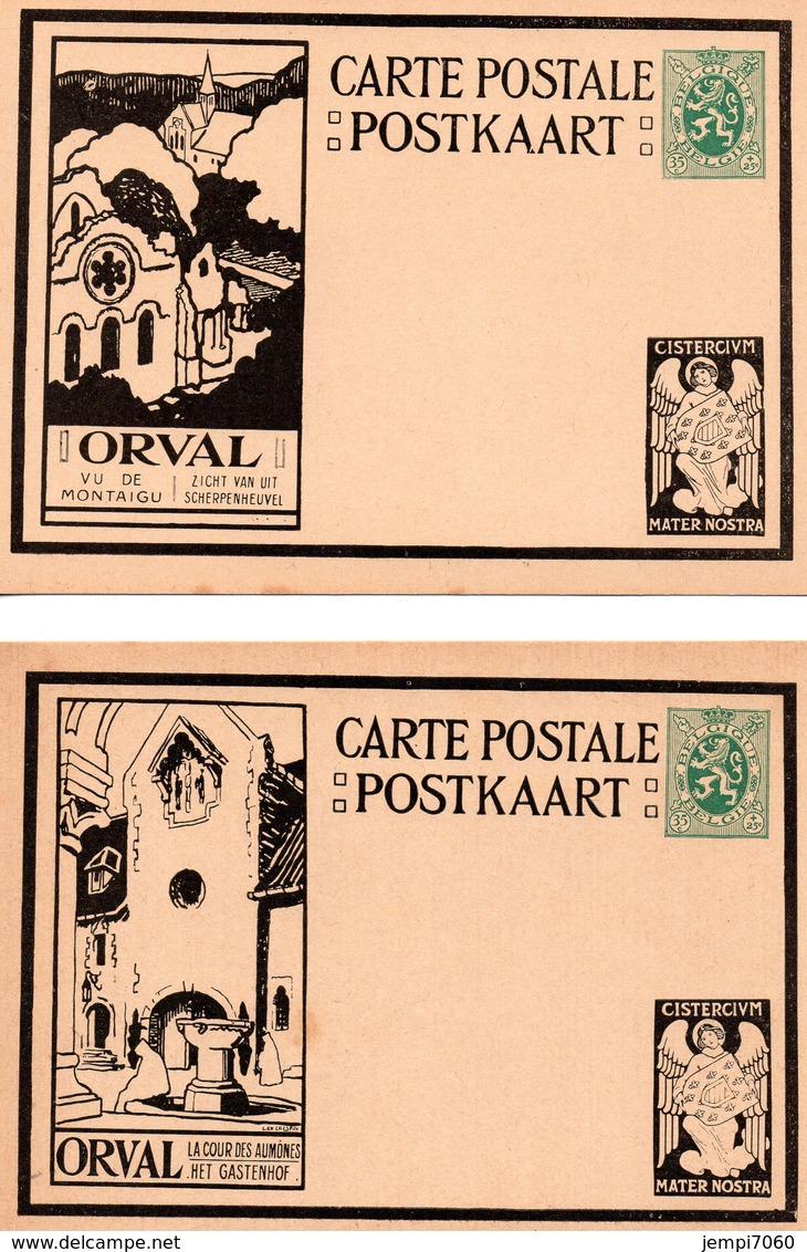 ORVAL : Lot De 10 Cartes Postales Affranchies Avec Lion Héraldique De 35c. (voir Scans) - Enteros Postales