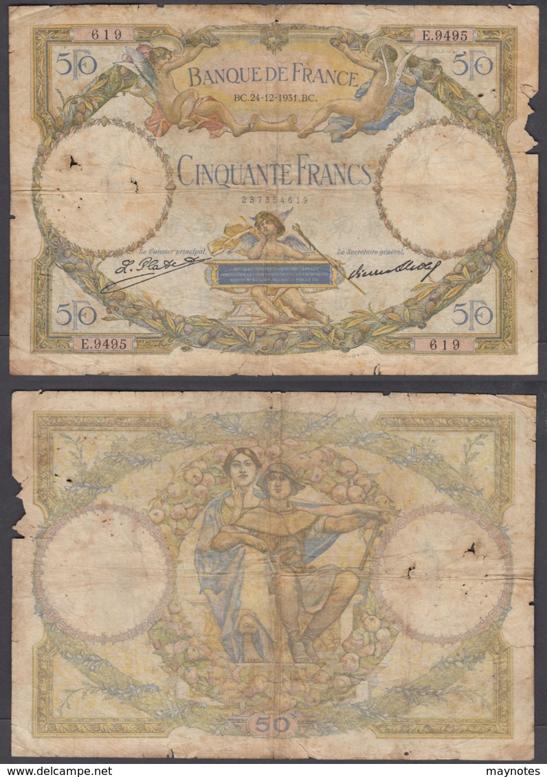 France 50 Francs 1931 (VG) Condition Banknote P-80 - 1871-1952 Circulated During XXth
