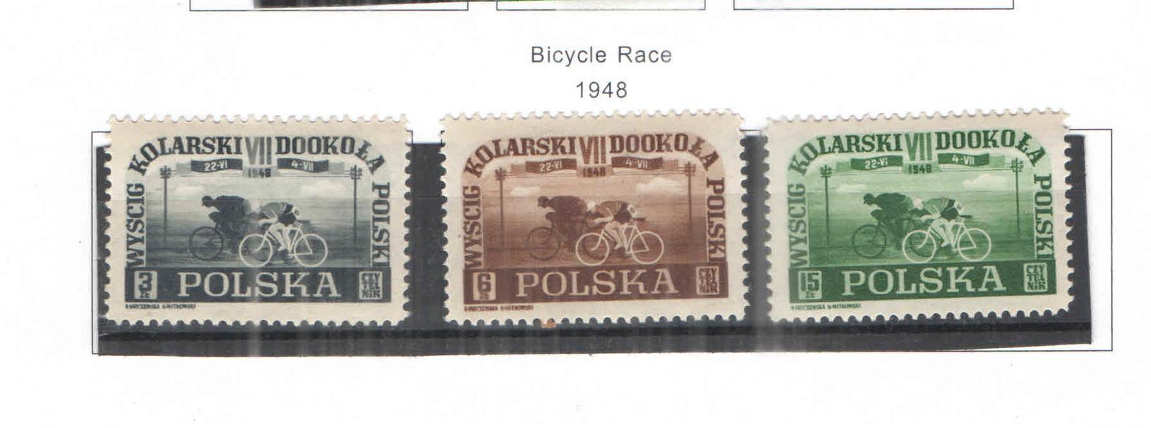 Polonia PO 1948 Corca Ciclistica  Scott.423/425 +See Scan On Scott.Page; - 1944-.... Republic