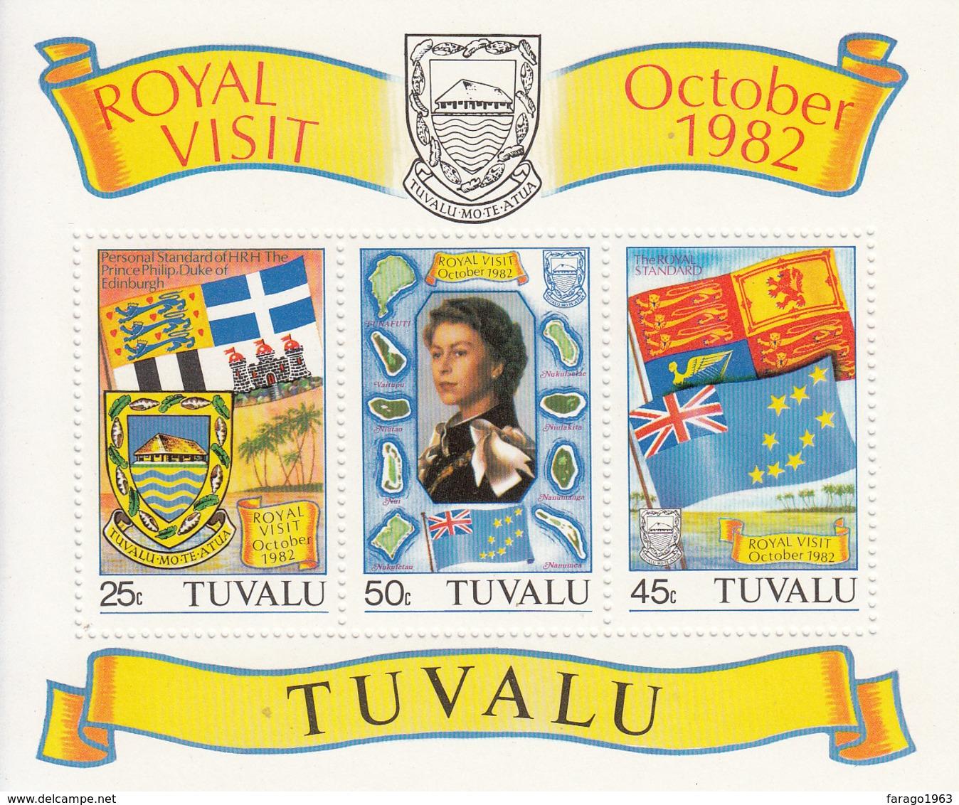 1982 Tuvalu QE Royal Visit Flags Coats Of Arms Miniature Sheet Of 3 MNH - Tuvalu