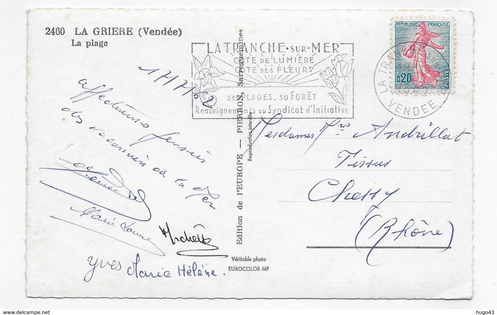 (RECTO / VERSO) LA GRIERE EN 1967 - N° 2460 - LA PLAGE - BELLE FLAMME - FORMAT CPA VOYAGEE - Autres Communes