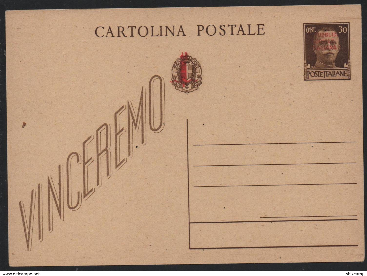 CP 30c Sovr. Rep.Soc.It. In Rosso E Fascetto Su Stemma Nuova - Nuovi