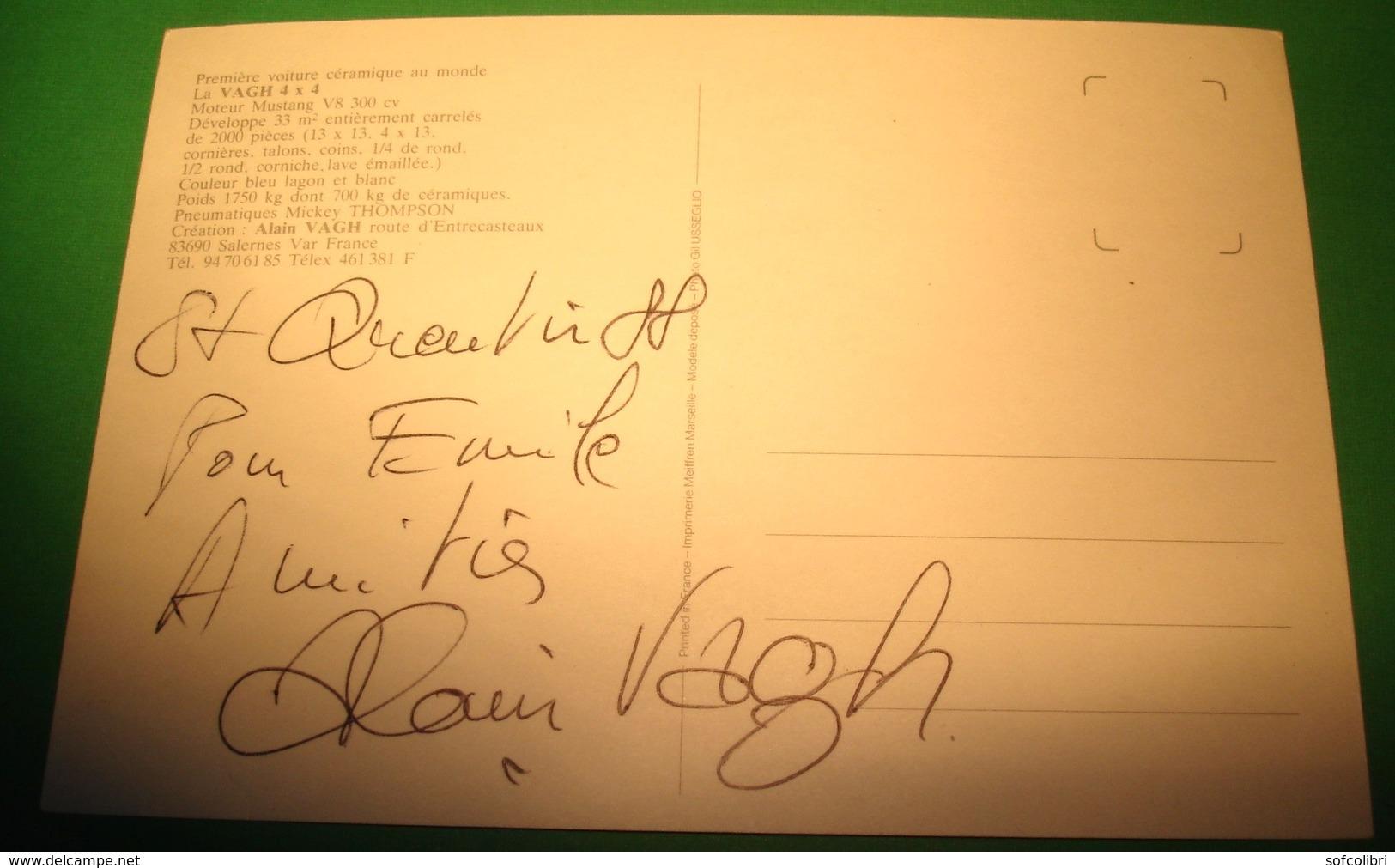 LA VOITURE EN CÉRAMIQUE (Ford ?) - Créateur Alain VAGH - Salernes-en-Provence (Carte écrite, Dédicassée Par Alain VAGH) - Salernes