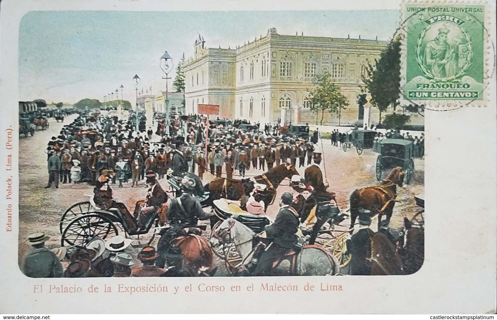 O) 1900 CIRCA - PERU, STAMP MANCO CAPAC -FOUNDER OF INCA DYNASTY SCT 142 FRANQUEO  1c  Green, THE PALACE OF THE EXHIBITI - Peru