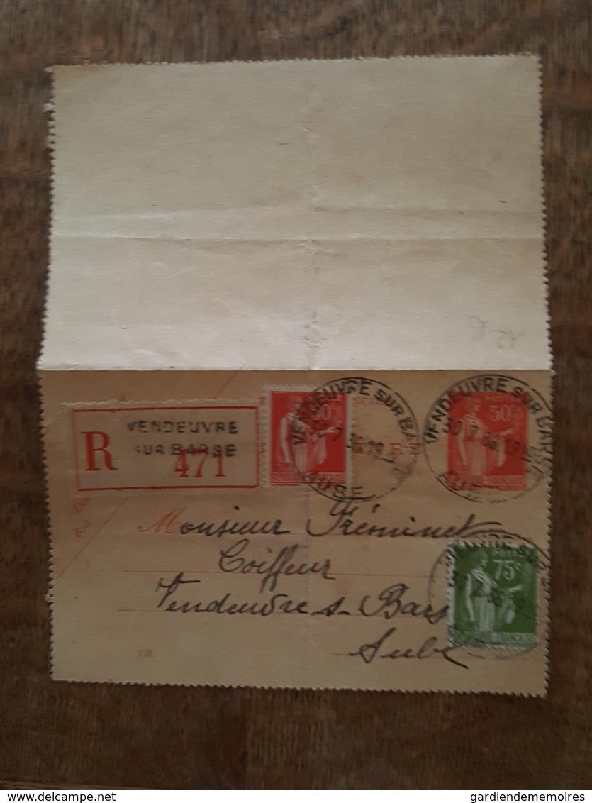 Entier Postal - Type Paix 50c Rouge + Complément 50 Et 75c Vert - Recommandé Vendeuvre Sur Barse 471 Intra, TAD - Entiers Postaux