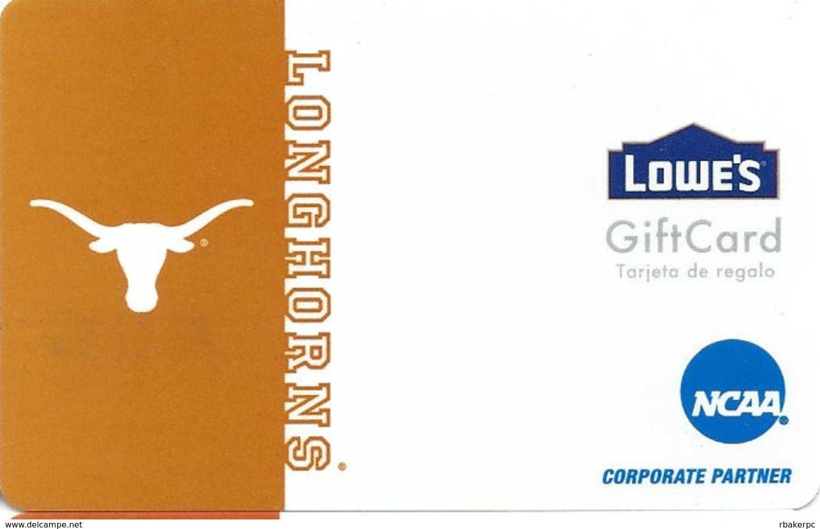 Lowes NCAA Gift Card - Texas Longhorns - Gift Cards