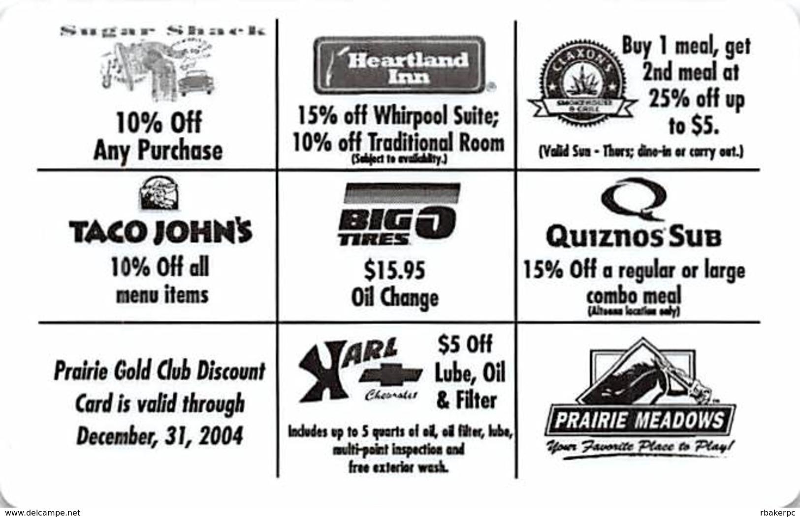 Prairie Meadows Racetrack / Casion - Altoona, IA - Prairie Gold Club Discount Card - Casino Cards