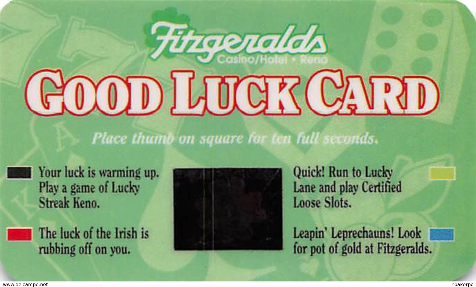 Fitzgerald's Casino - Reno, NV - Good Luck Card With Phone# - Casino Cards