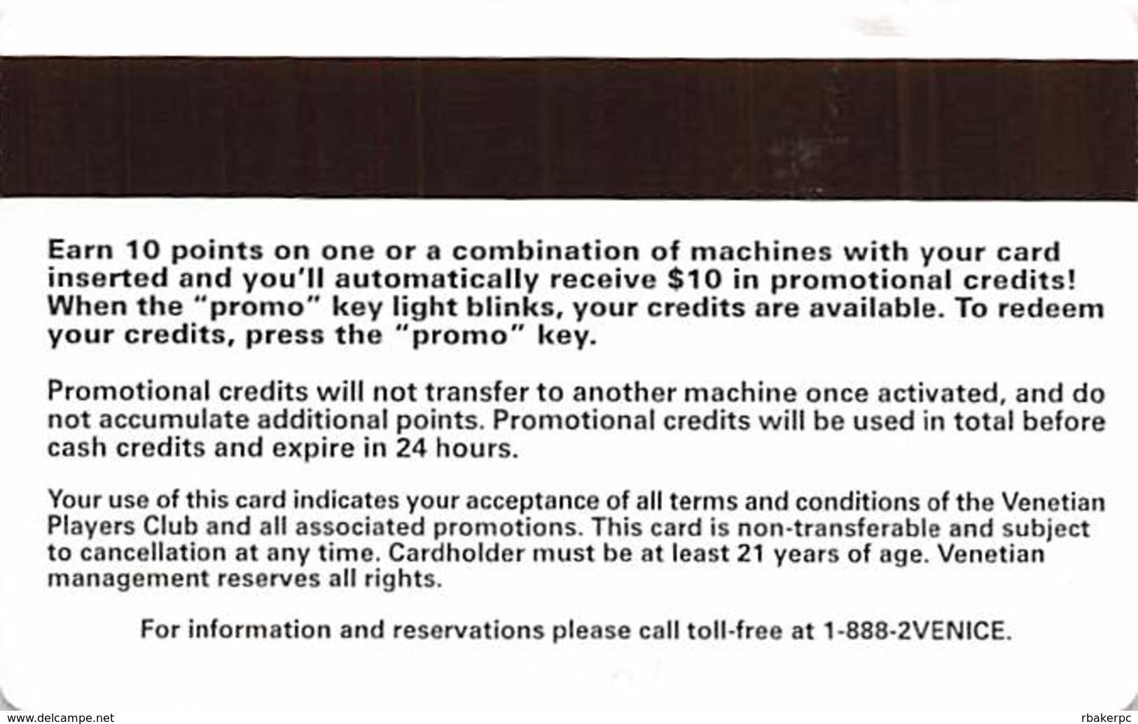 Venetian Casino - Las Vegas, NV - Paper Players Club - Earn 10 Points - Get $10 - Casino Cards