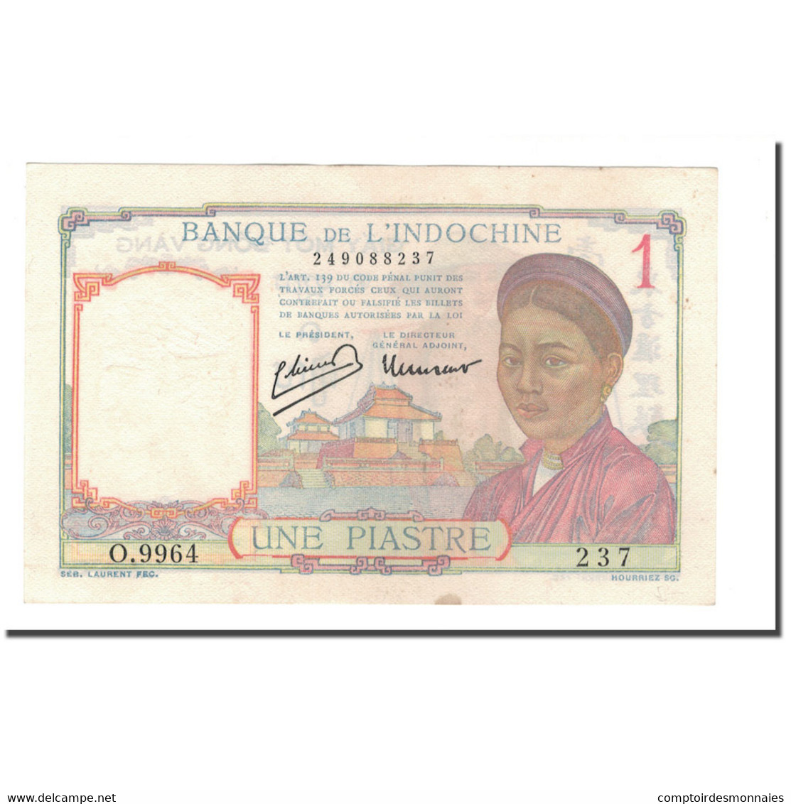 Billet, FRENCH INDO-CHINA, 1 Piastre, 1932-1939, 1946, KM:54c, SUP - Indochine