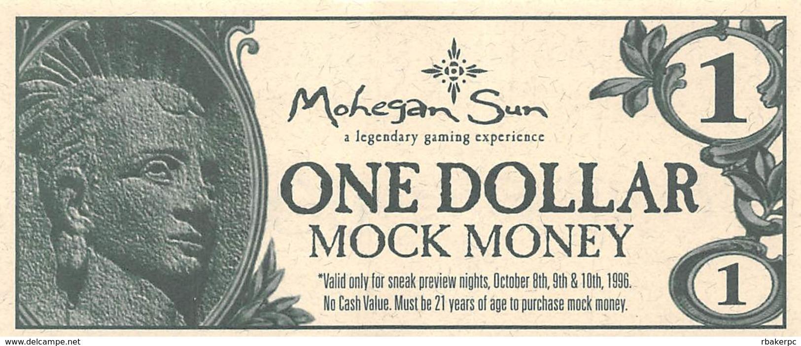 Mohegan Sun Casino - Uncasville, CT USA - $1 Mock Money Bill From Preview Night Oct 8-10, 1996 - Casino Cards