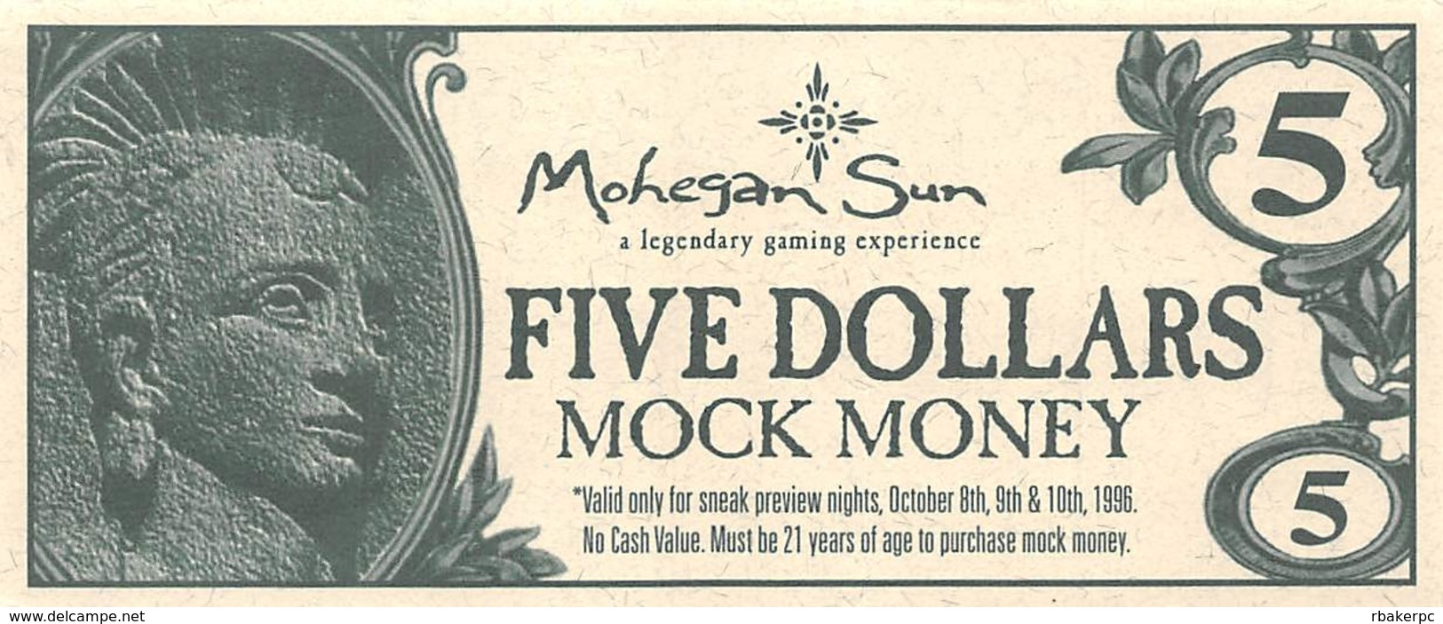 Mohegan Sun Casino - Uncasville, CT USA - $5 Mock Money Bill From Preview Night Oct 8-10, 1996 - Casino Cards