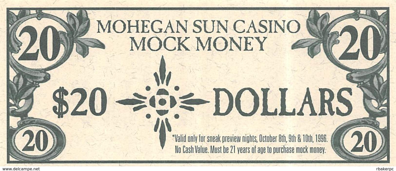 Mohegan Sun Casino - Uncasville, CT USA - $20 Mock Money Bill From Preview Night Oct 8-10, 1996 - Casino Cards