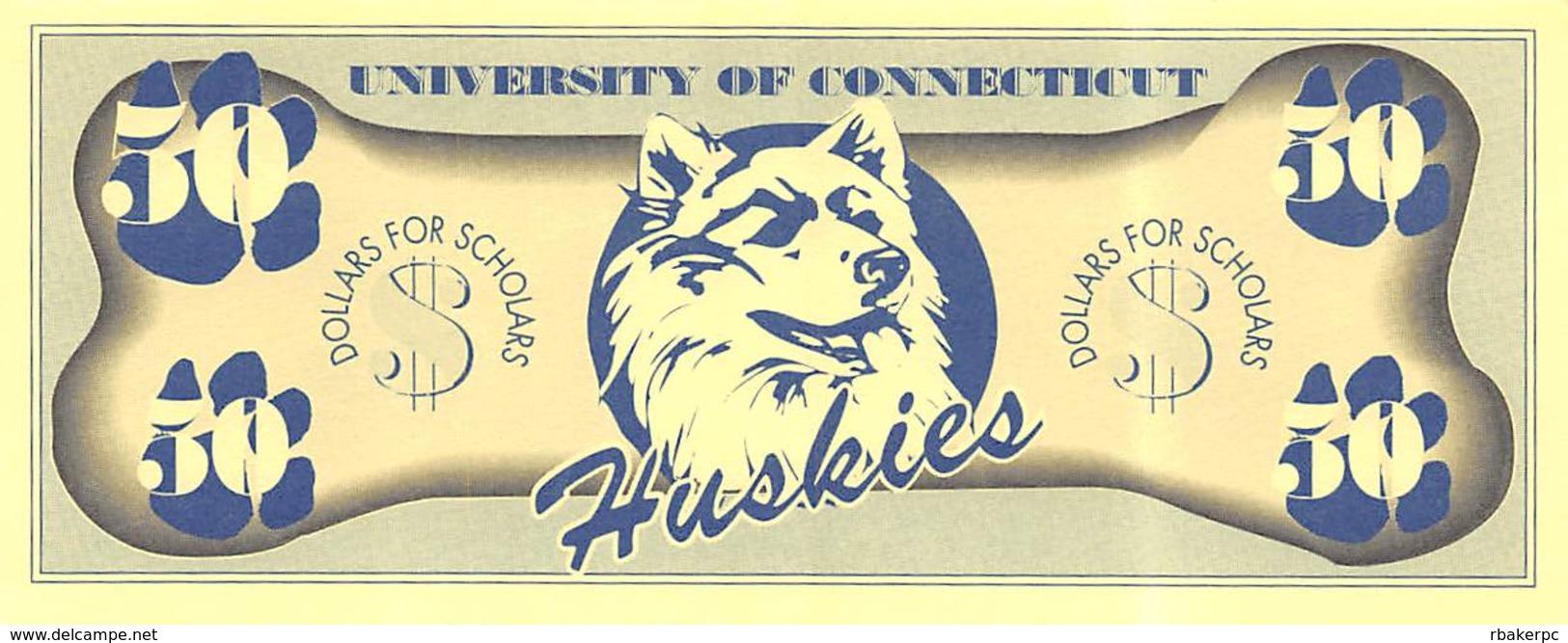 Foxwoods Casino - Ledyard, CT - $50 University Of Conecticut Huskies Dollars For Scholars Bill - Casino Cards