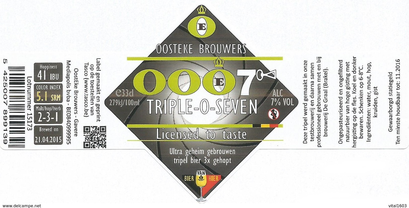 Bieretiket België 912 - Bière