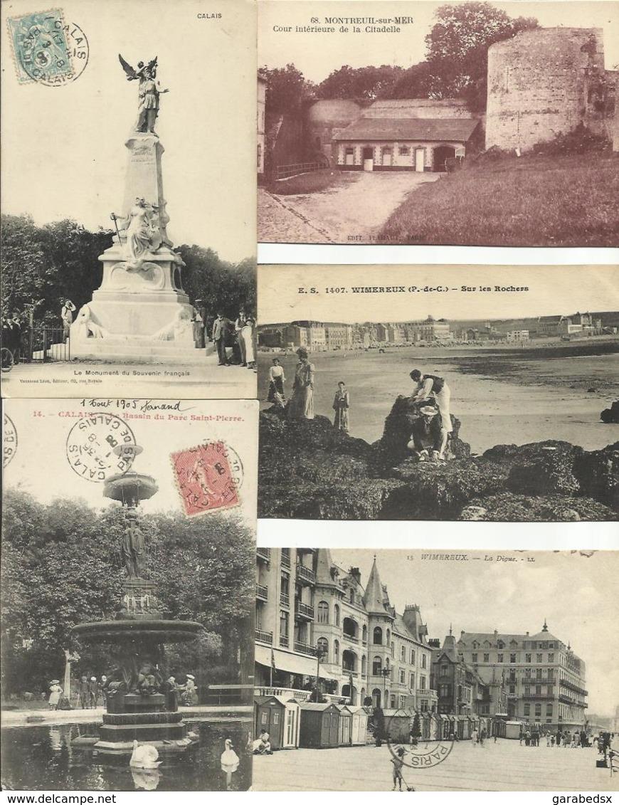 LOT DE 208 CARTES POSTALES ANCIENNES DU PAS DE CALAIS (62). - France