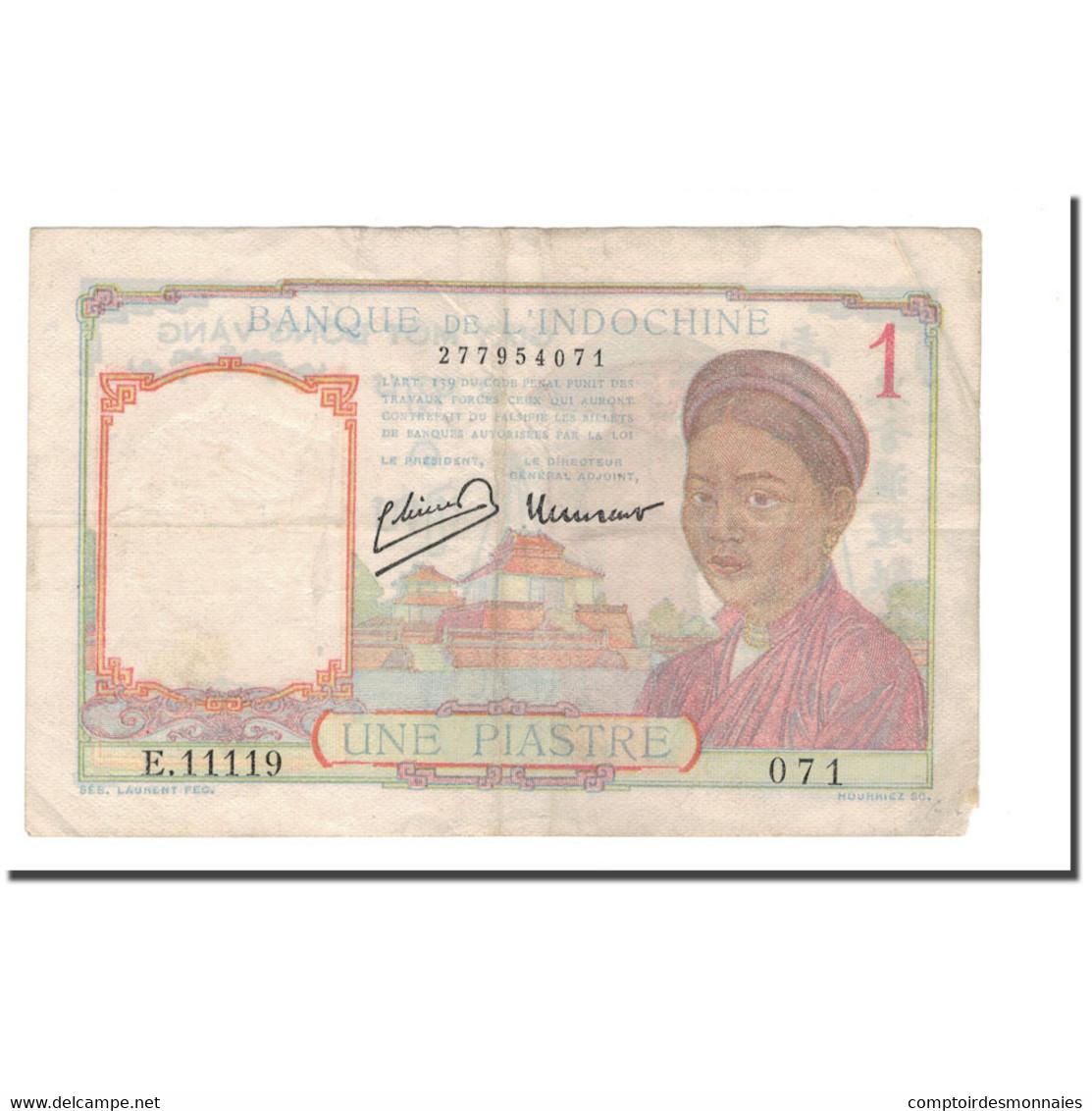 Billet, FRENCH INDO-CHINA, 1 Piastre, 1932-1939, 1946, KM:54c, TTB - Indochine
