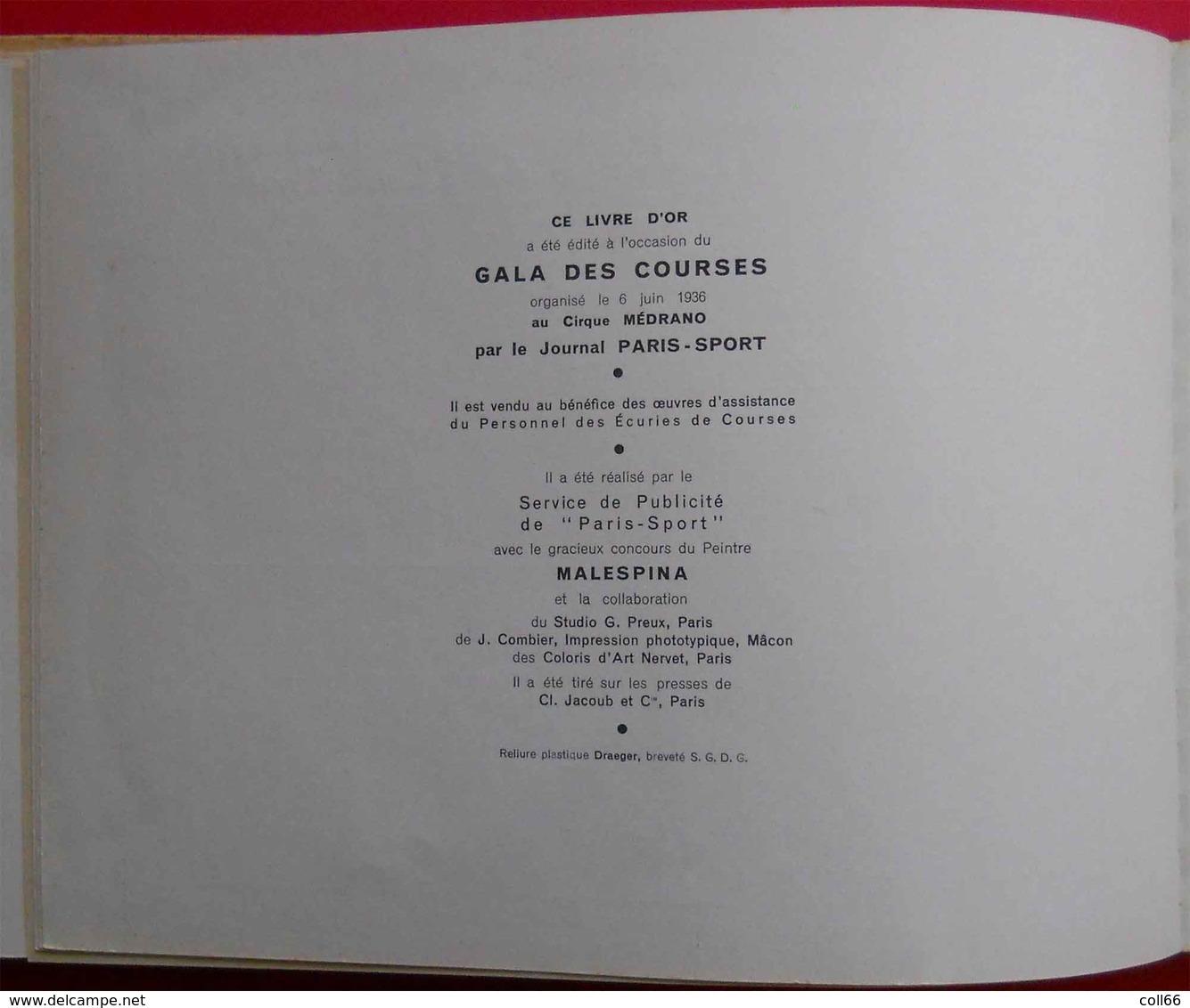 1936 Le Livre D'or Du Gala Des Courses Casaques Colorisées Illustrations Malespina PUB Renault Latécoère Air France Etc. - 1901-1940