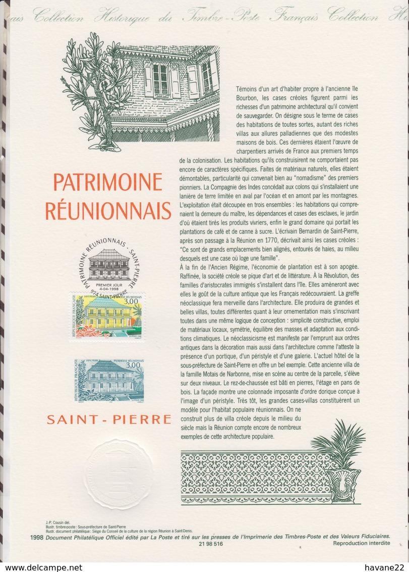 1ER JOUR  FEUILLET DOCUMENT PHILATELIQUE 98 516 PATRIMOINE REUNIONNAIS - Documents De La Poste
