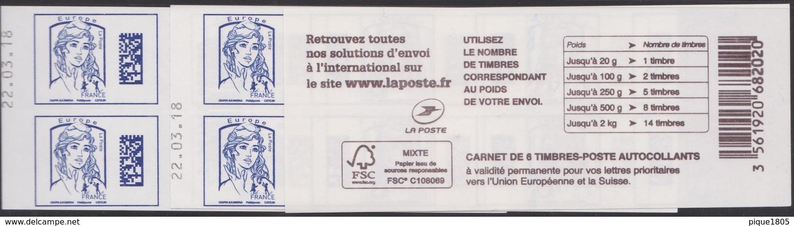 Carnet Europe DataMatrix Marianne Ciappa Daté 22.03.18 - Carnets