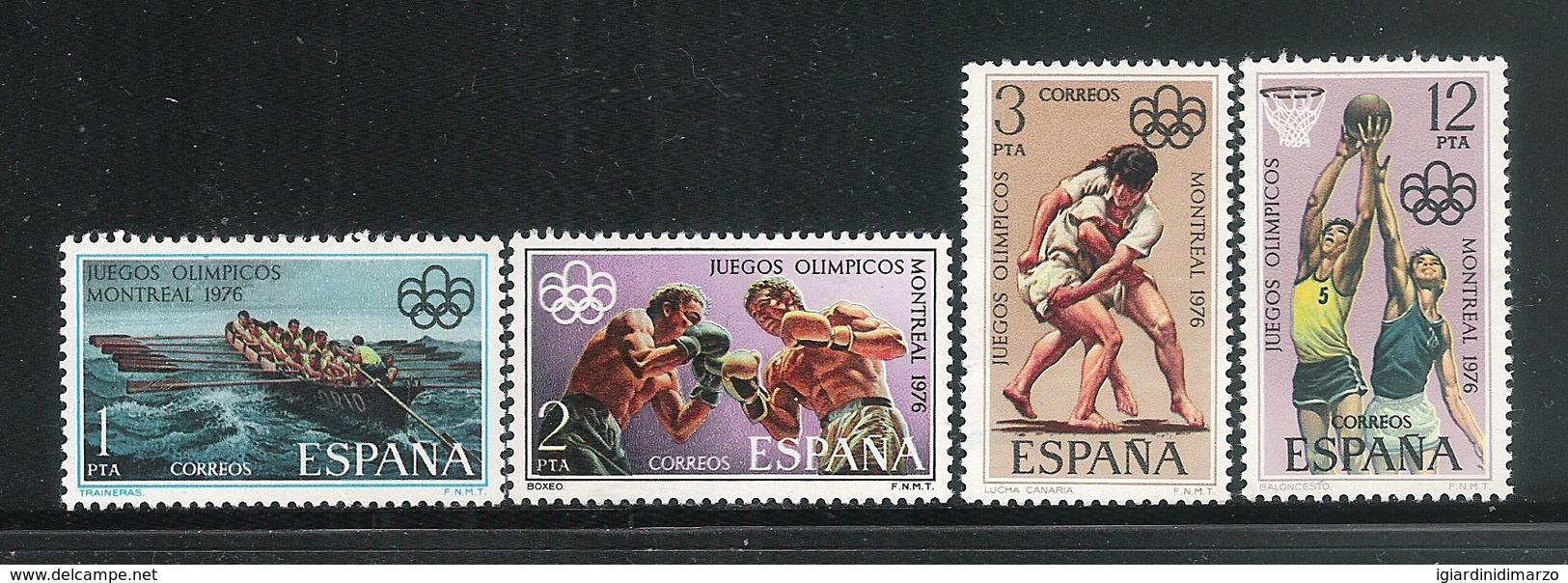 SPAGNA - 1976: 4 VALORI NUOVI STL DEDICATI AI GIOCHI OLIMPICI DI MONTREAL - IN BUONE CONDIZIONI. - Estate 1976: Montreal