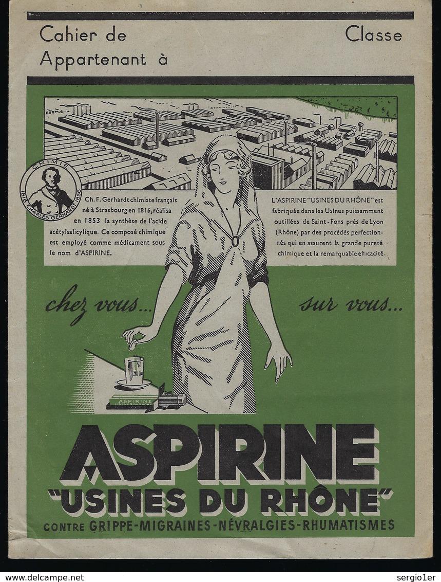 Protege Cahier Illustré  Aspirine Usines Du Rhone  Contre Grippe Migraines Névralgies Rhumatismes - M