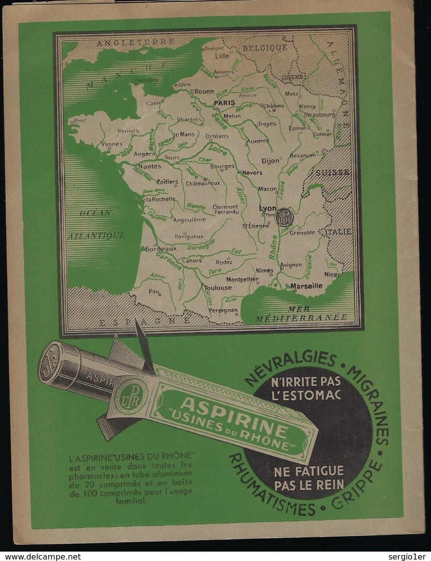 Protege Cahier Illustré  Aspirine Usines Du Rhone  Contre Grippe Migraines Névralgies Rhumatismes - Carte Assorbenti