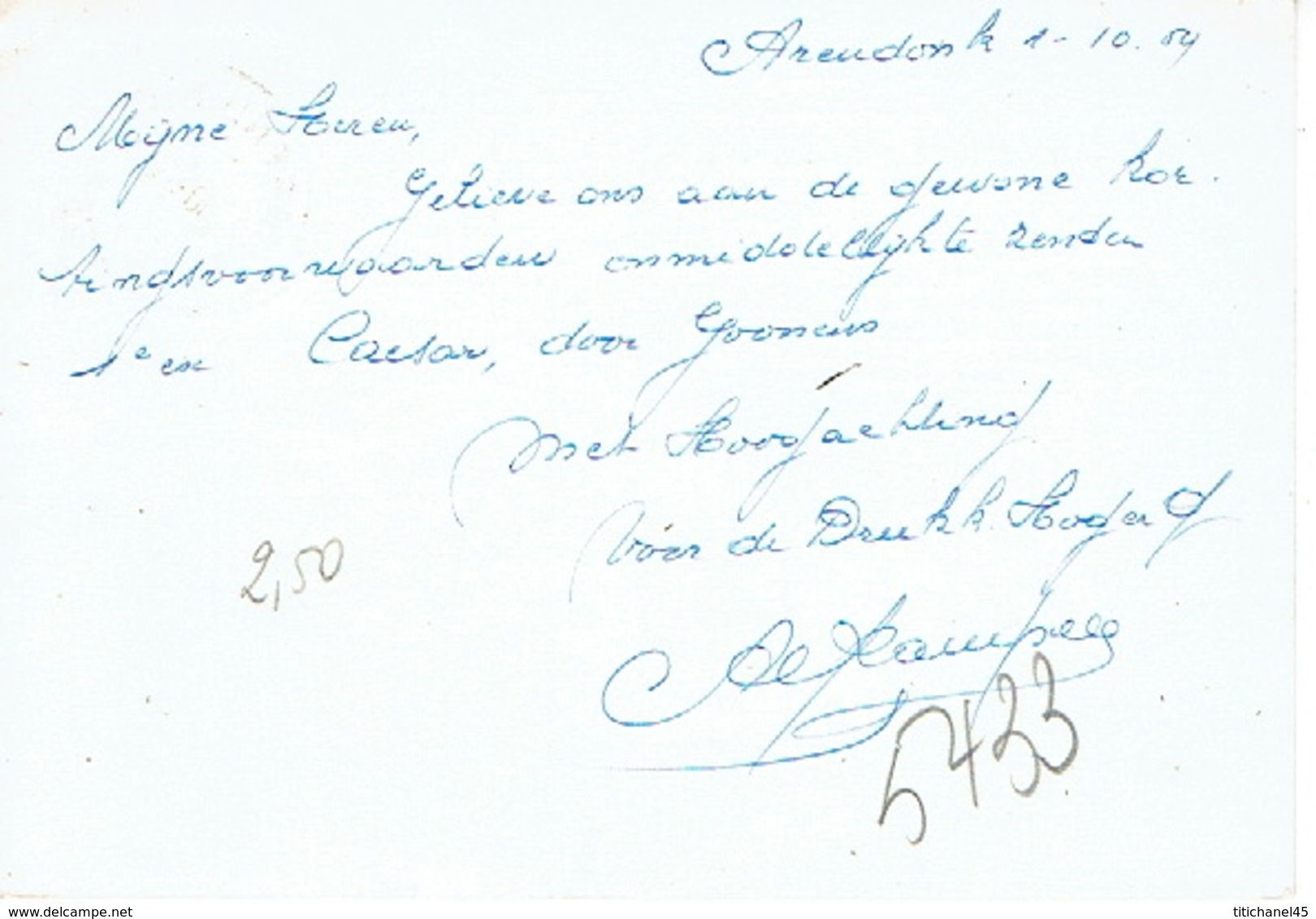 """PK Publicitaire ARENDONCK 1959 - Drukkerij """"HOGER OP"""" - Gebrs. LAVRIJSEN - Arendonk"""