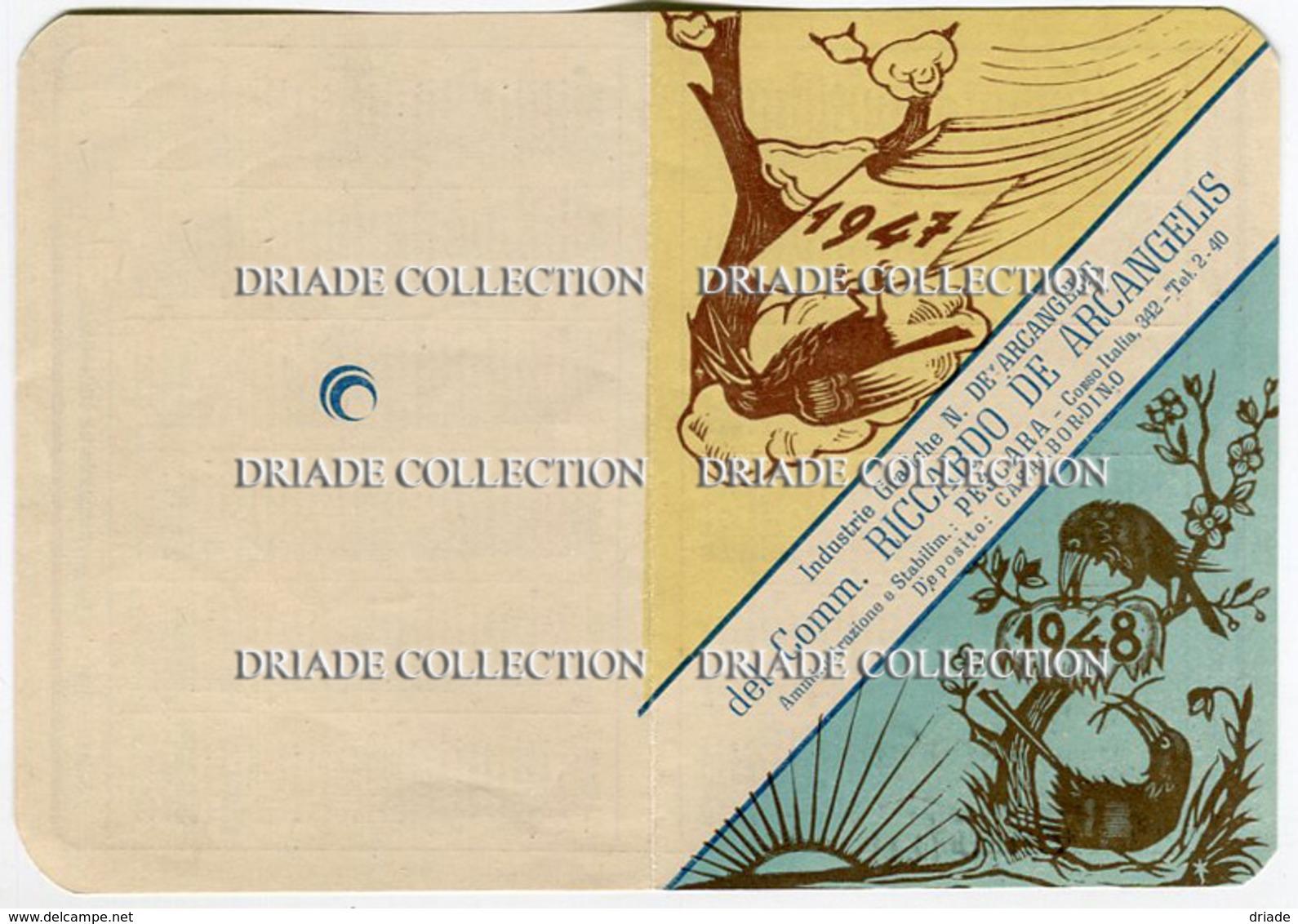 CALENDARIETTO PUBBLICITà INDUSTRIE GRAFICHE DE ARCANGELIS PESCARA CASALBORDINO ANNO 1947 1948 - Calendriers