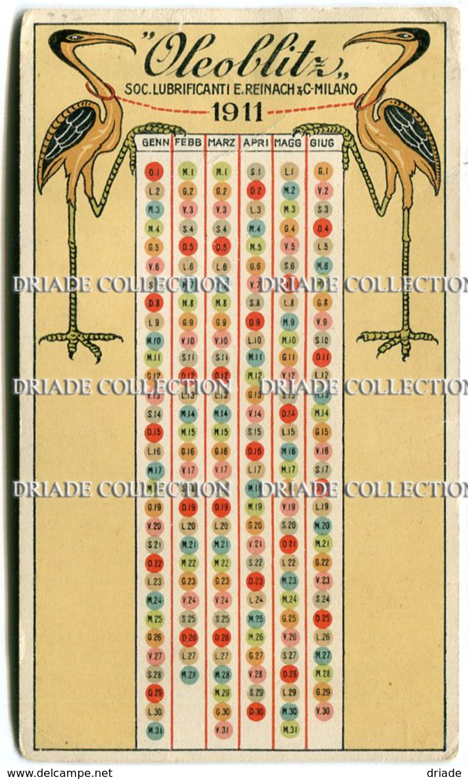 CALENDARIETTO OLEOBLITZ SOCIETà LUBRIFICANTI E. REINACH & C. MILANO ANNO 1910 1911 - Calendriers