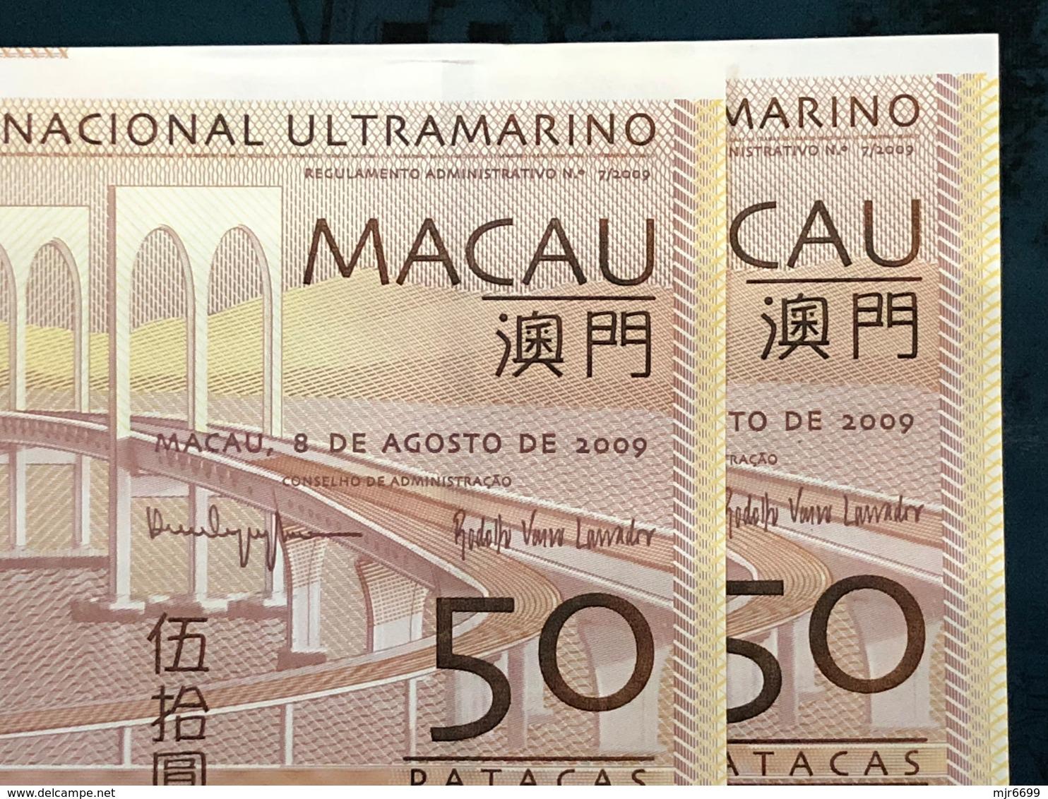BNU - BANCO NACIONAL ULTRAMARINO 2009 50 PATACAS UNC WITH ZZ PREFIX X 1 TO CHOOSE - Macao