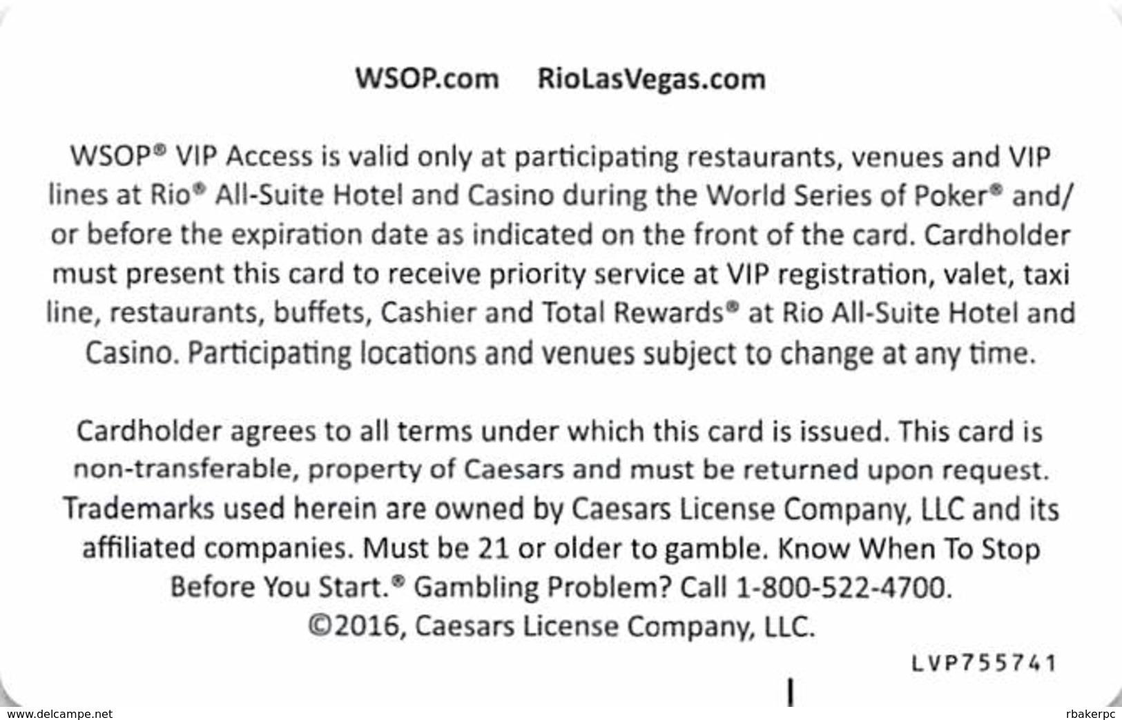 Rio Casino Las Vegas, NV - VIP Access Card - Casino Cards