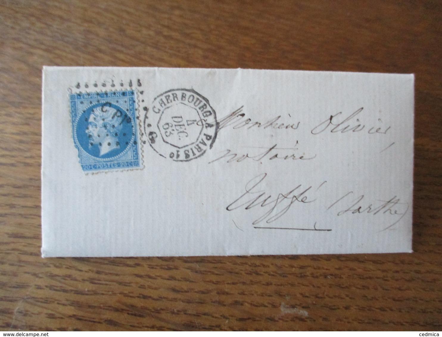 CACHET CHERBOURG A PARIS 1° 4 DEC. 63 6 LOSANGE PETITS CHIFFRES C P 1° SUR LETTRE BERNAY 4 Xbre 1863 - Marcophilie (Lettres)