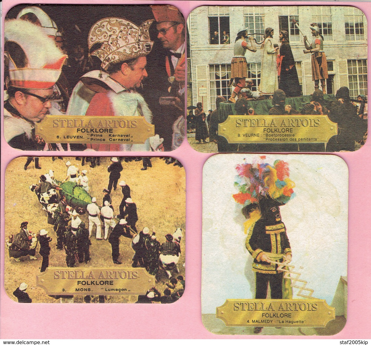 Bierviltjes - Stella Artois - Folklore - Mons-Malmedy-Leuven-Veurne - (4 Stuks) - Sous-bocks